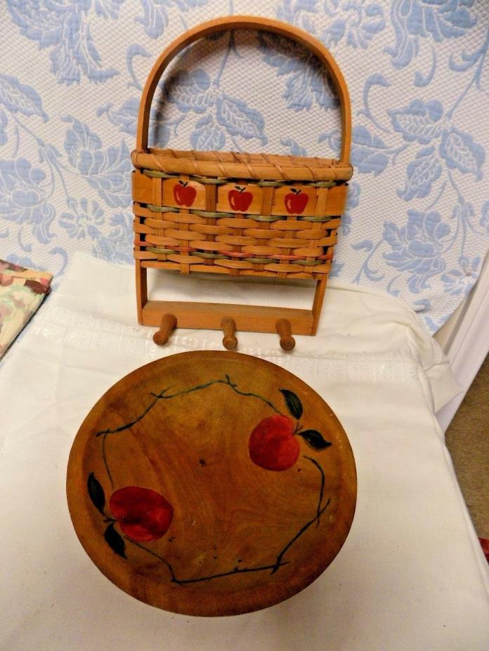 Vintage  Hand Painted Red Apples Wood Bowl & Apple Basket Wall Towel Holder