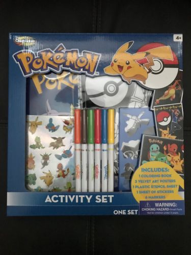 Pokemon Activity Set Coloring Book New Velvet Posters Stickers Stencil Markers