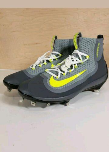 Nike Air Huarache 2k Filth Gray Volt Mid Metal Baseball Cleats MEN  SIZE  11.5