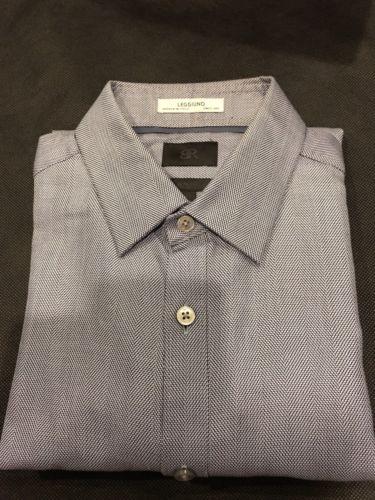 Mens BANANA REPUBLIC Monogram Dress Shirt Non Iron Slim Fit Button Small - Blue