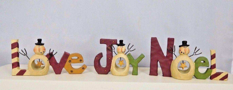 Set of 3 Love, Joy, Noel words with snowmen in each  - New Blossom Bucket #80550