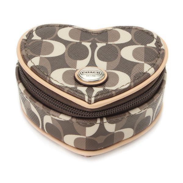 $88 Coach Peyton Dream Signature C Heart Jewelry Pouch Case Gift Box NWT