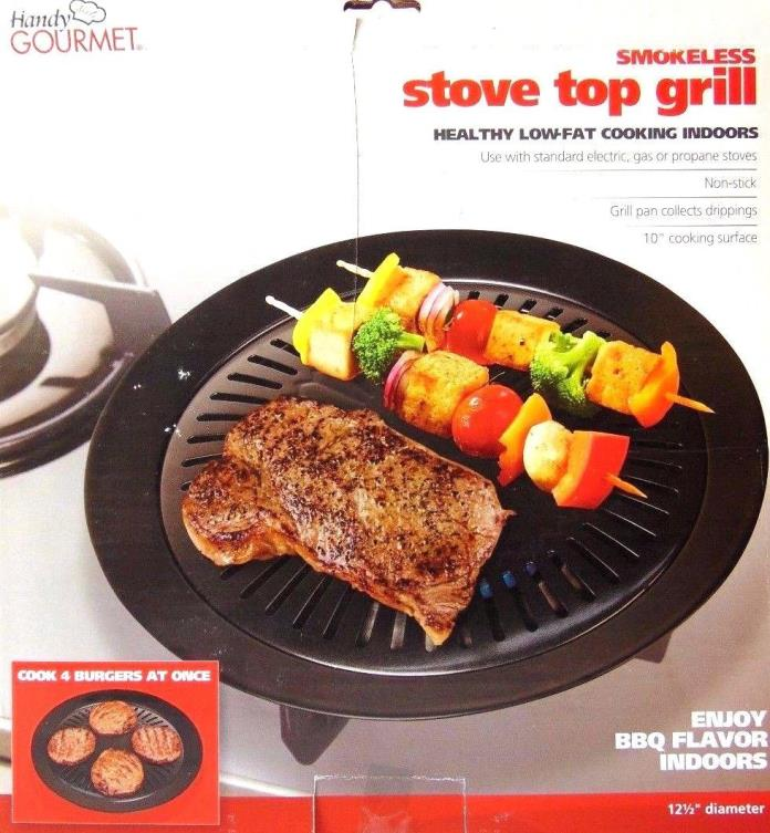 Handy Gourmet  12 1/2 diameter STOVE TOP GRILL BLACK ( 2 PACK )