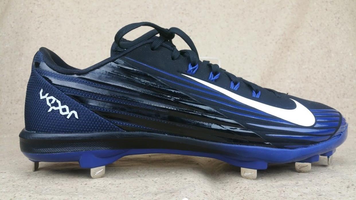 Nike 683895 Lunar Vapor Flywire Baseball Metal Cleats Black Blue Men's Size 11