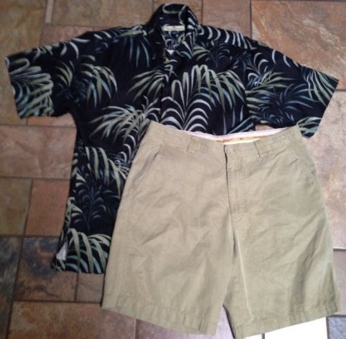 Men's Tommy Bahama 2pc Lot Khaki Sz33x9 Shorts Button-down Black W/Palms Shirt