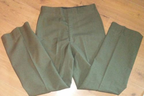 100% WOOL PANTS VTG 1970 Trousers Mens Serge Green 2234 LONG 33 X 32 MILITARY