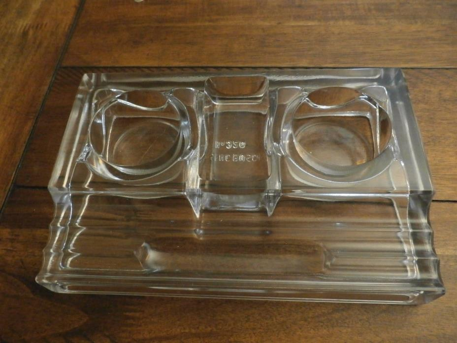 No 320 Antique SENCBUSCH DUAL INKWELL DESK SET- PEN HOLDER Wavy GLASS
