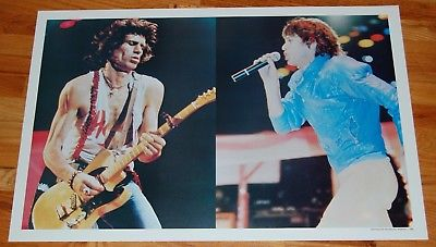 ROLLING STONES Mick Jagger Keith Richards Split Concert Poster 1982 Germany