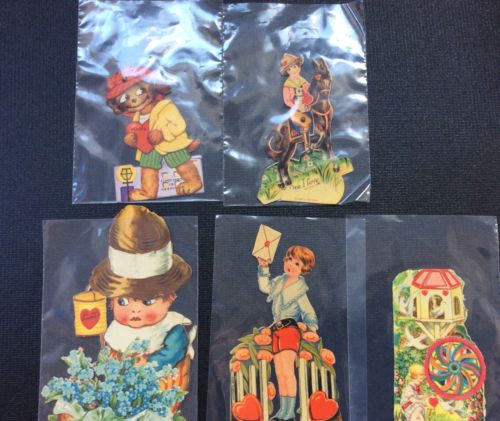 Lot of 5 Mechanical Vintage Valentines