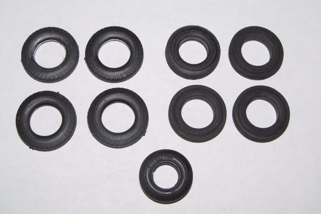 9 Slot Car Rubber Tires One Firestone Indy Russian Vintage 1/24 1/32 Parts