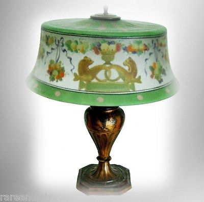Antique Pairpoint matched shade and base lamp - Otters and cornicupia FREE SHIP