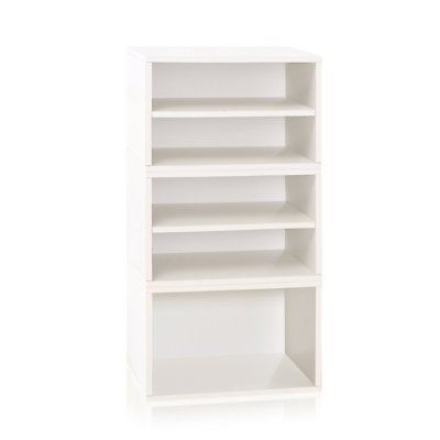 Way Basics Eco Pisa Stackable Modular Bookcase and Storage Shelf, White