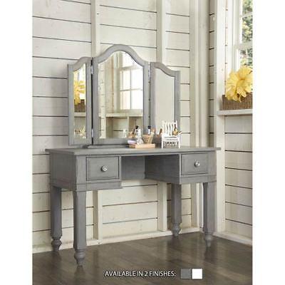 NE Kids Lake House Stone Writing Desk with Vanity Mirror - 2540NDV