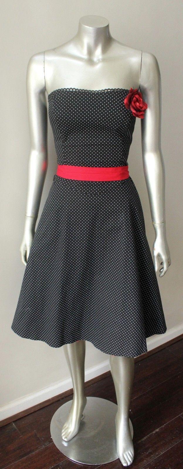 Pin Up Polka Dot Vintage Corsage Belted Strapless Black White A Line Dress S