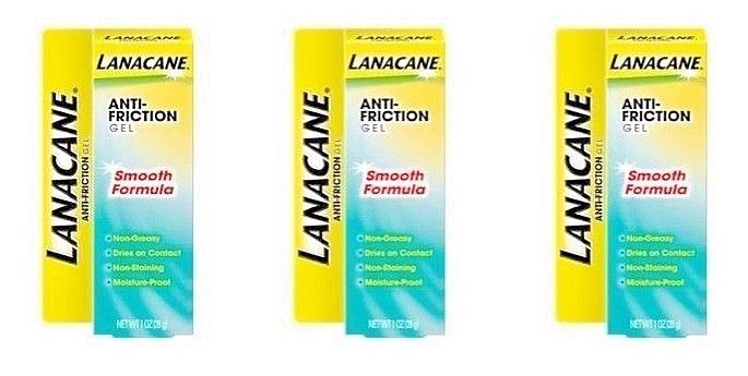 Lot of 3  Lanacane Anti-Friction Chafing Gel SMOOTH Formula   2/18 - 1 oz Each