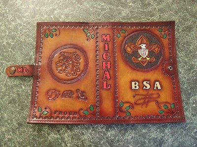Hand crafted leather Scout book/ Bible cover. Can be personalized.