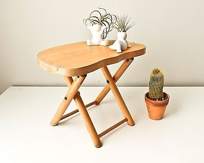 Folding Stool, Plant Stand,  Vintage Nevco Foldn Carry Wooden Stool, Camp Stool,