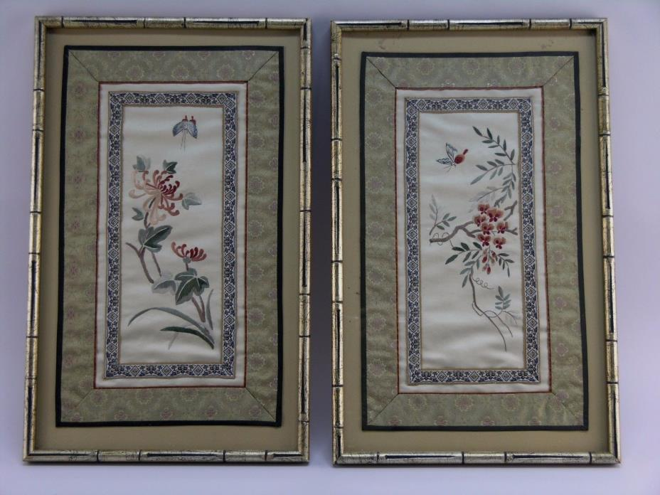 PAIR! Antique CHINESE SILK EMBROIDERY PANELS, 1900's Framed Textile