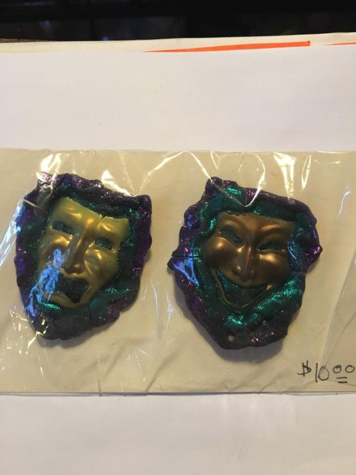 Mardi Gras Mask Earrings/ Large Hand Made