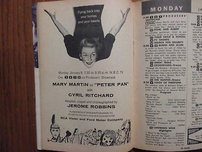 Jan-1956 TV Guide(PETER PAN/MARY MARTIN/VAUGHN MONROE/LIFE OF RILEY/MICKEY MOUSE
