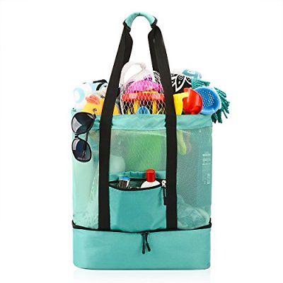 Mesh Beach Bag Ricdecor Tote Stay Away from Sand for with Zipper Top and Picnic