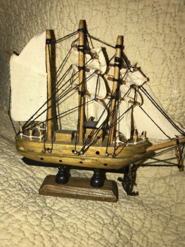 Old Vintage Wooden Sailboat Ship Schooner Model Wood  Anchor Nautical Maritime