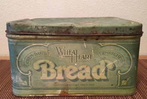 Vintage Wheat Heart Metal Tin Bread Box R & D 1977