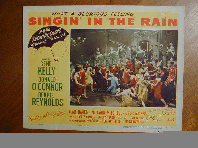 SINGIN' IN THE RAIN '52 ORIG LOBBY CARD #8 SIGNED BY BETTY COMDEN FILM CO-WRITER