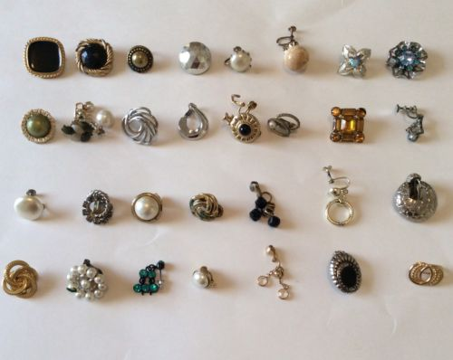 Vintage clip on earrings mismatched lot of 32 for crafts etc costume jewelry