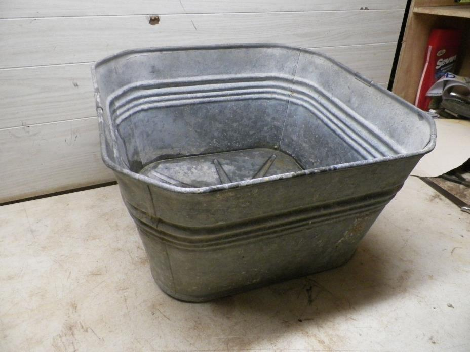 Unusual Old Galvanized Metal Laundry Tub with angled Corners Lot A Flower Pot
