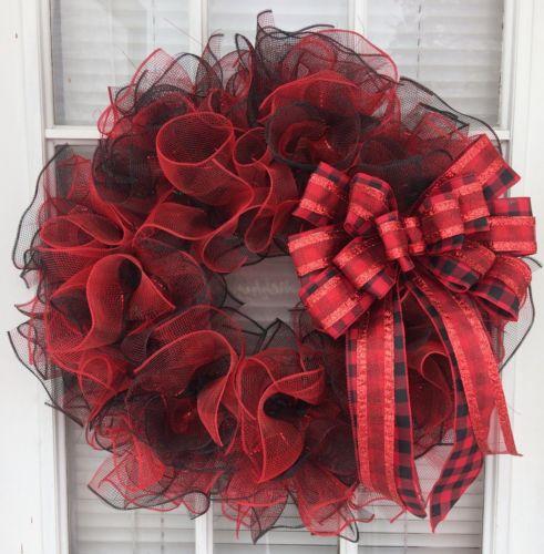 Valentines Day Ruffle Handmade Deco Mesh Door Wreath 24
