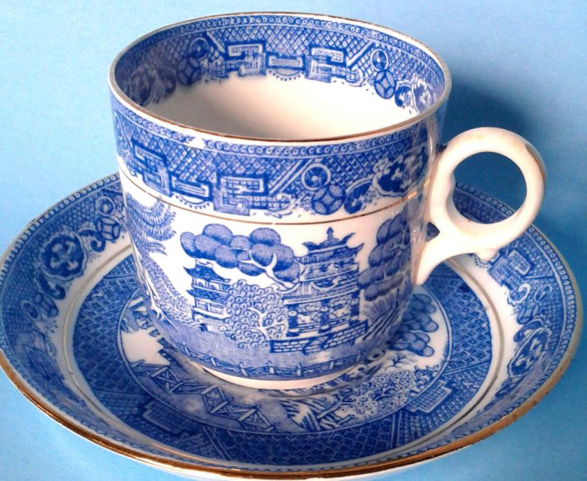 SAMUEL RADFORD MANDARIN BLUE WILLOW Demitasse Cup and Saucer Antique c.1928