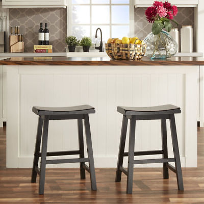 Home Creek Collins Rubberwood Saddle Back Wooden Counter Height Bar Stools - Set