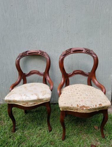 Pair of Antique mahogany walnut wood Balloon back chairs