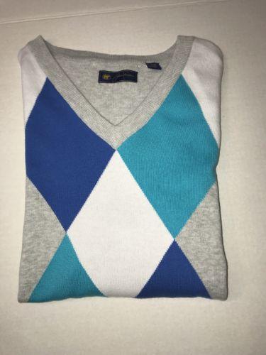 NWT Men's Jack Nicklaus Multi Argyle Sweater Vest Size L Large Blue Grey White
