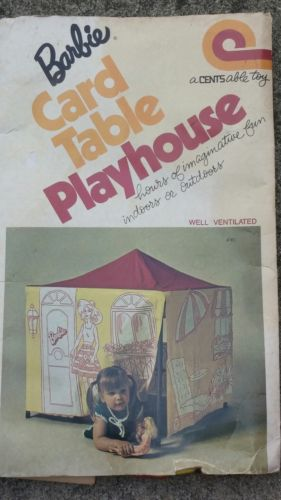 Vtg BARBIE Card Table Playhouse New Never Used NIP Plastic Centsable Toys