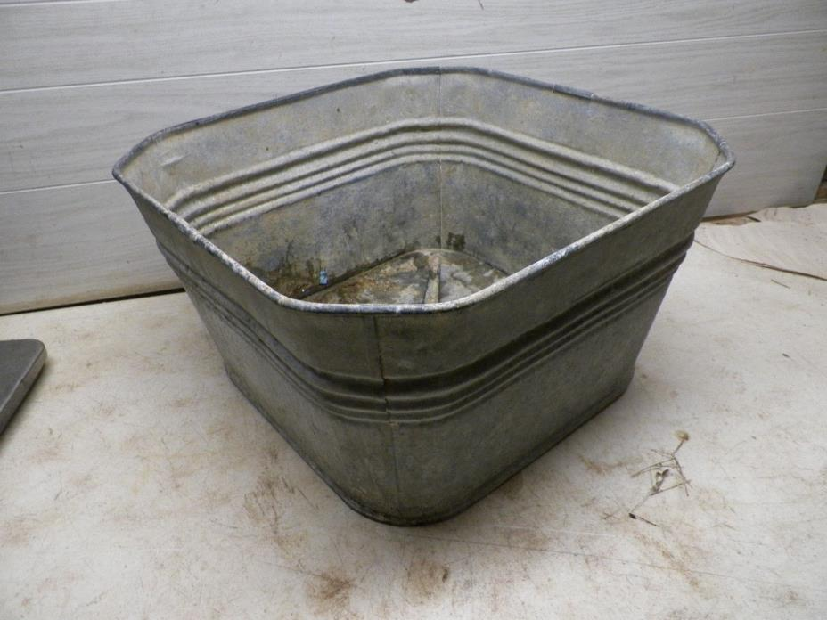 Unusual Old Galvanized Metal Laundry Tub with angled Corners Lot B Flower Pot