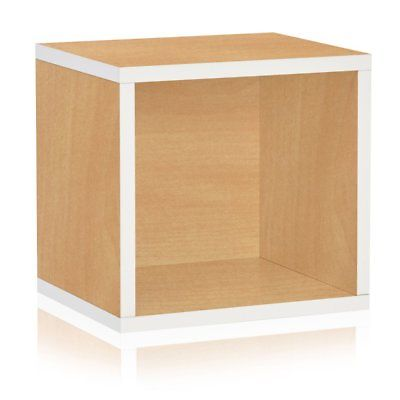 Way Basics Eco Stackable Open Storage Cube Organizer Unit, Natural/White