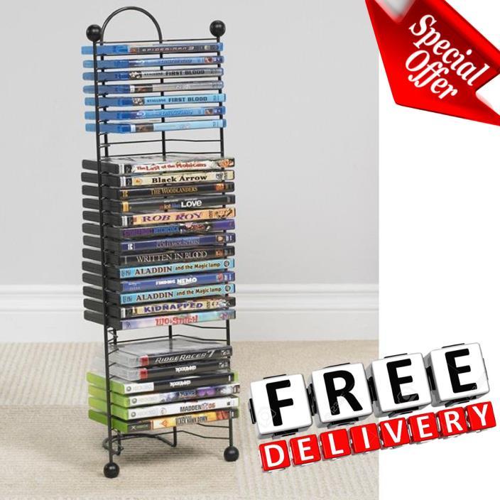CD DVD Holder Organizer BluRay Games Media Rack Tower Shelves Holder Storage