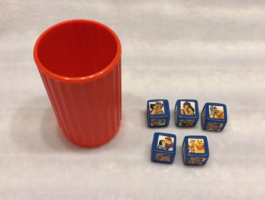 YAHTZEE JR. DISNEY EDITION REPLACEMENT PARTS - LOT OF 5 DICE AND DICE CUP