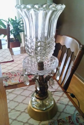 Antique Glass and Brass Cherub Putti Lamp with Crystal Prisms