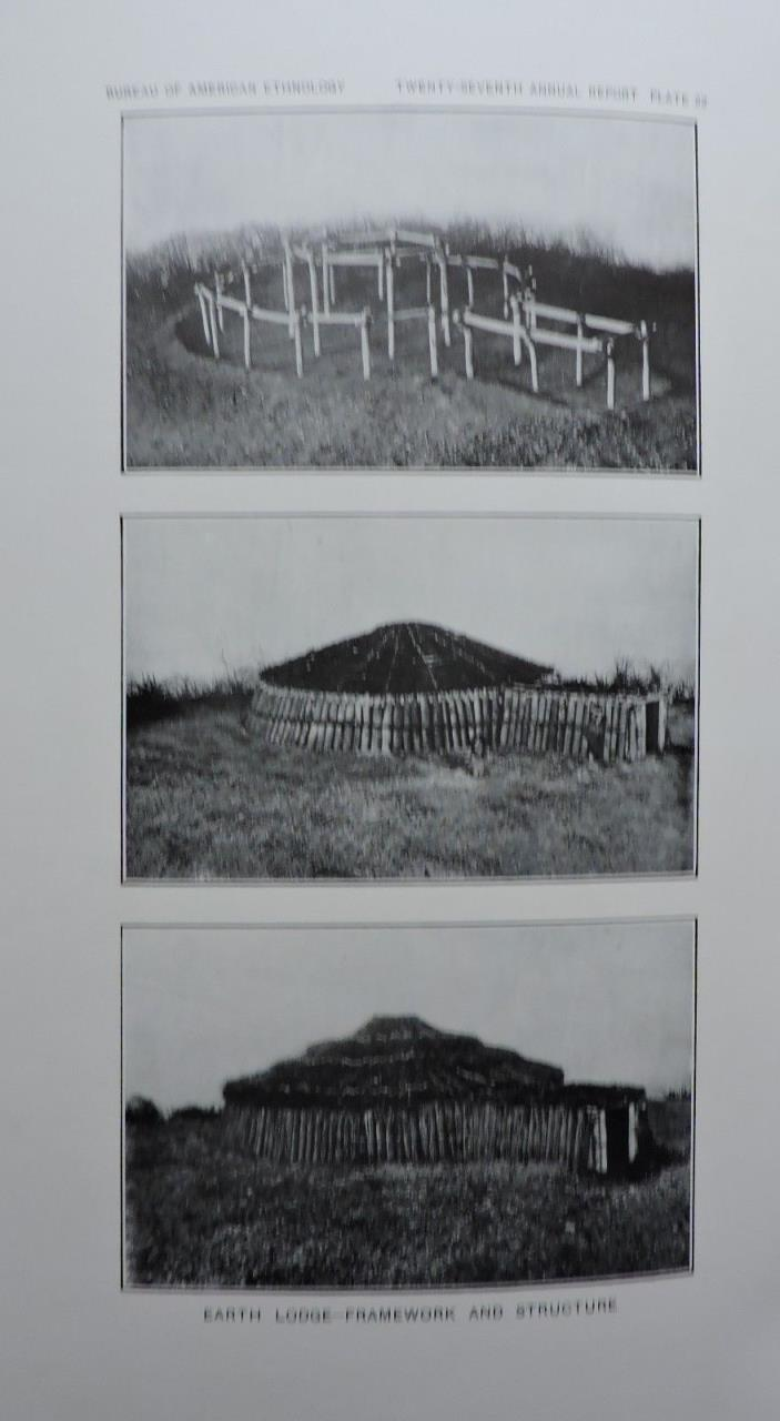 Earth Lodge - Framework and Structure Native American Ethnology Art Print 1911