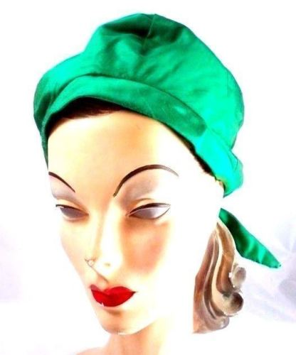 Vintage Womens Hat   Green Silk Bubble Beehive Cover 1950s Large