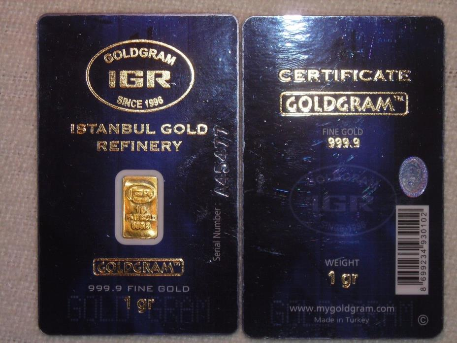 GOLD BAR 1 GRAM WITH CREDIT CARD CERTIFICATE ONE GRAM SOLID .999 GOLD IGA BAR