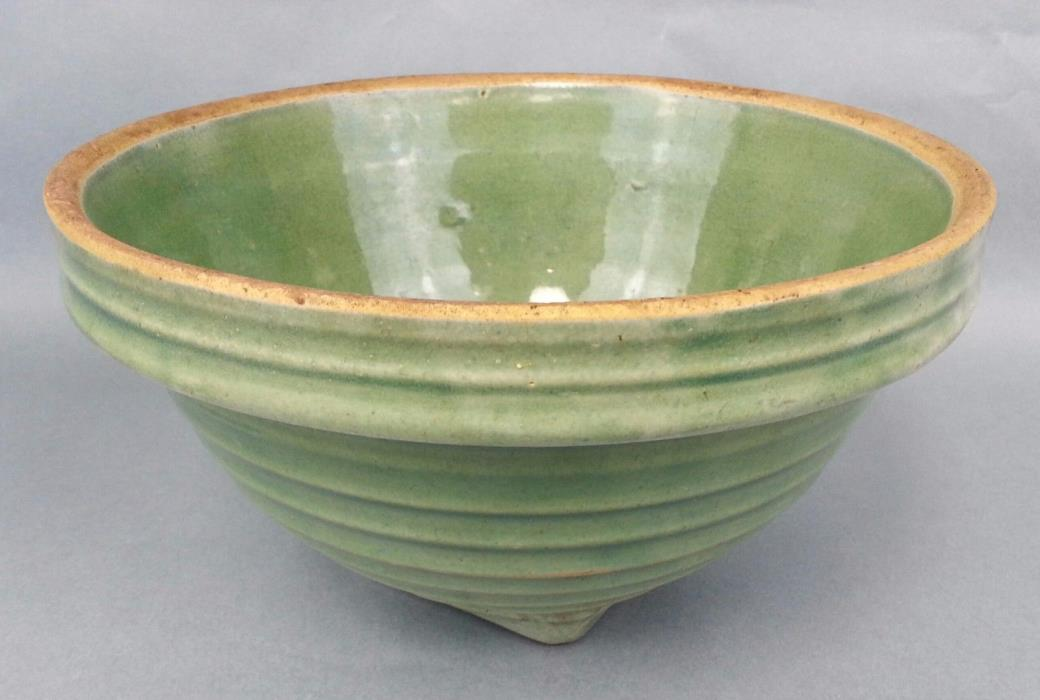 Antique Old Green Bowl Mixing Bowl Pottery McCoy