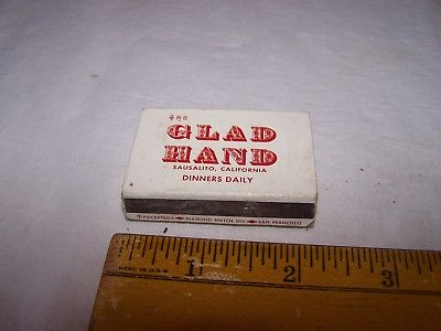 Vintage GLAD HAND Diamond Wood Matches POCKETBOX Sausalito California