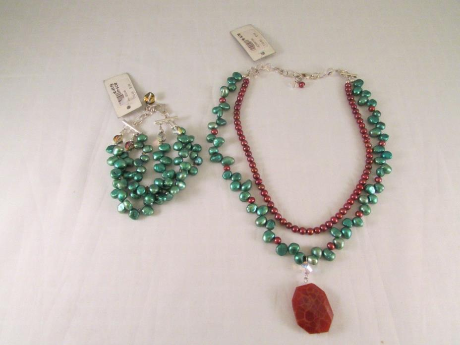 NWT EMILY RAY 925 Sterling Silver Green/Blue Brown Beaded Necklace &Bracelet Set