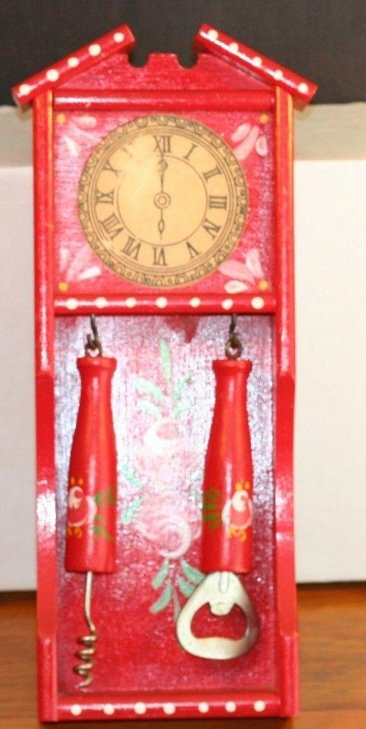 Vintage Retro Wooden Grandfather Clock Bar Set Corkscrew & Bottle Opener Wall