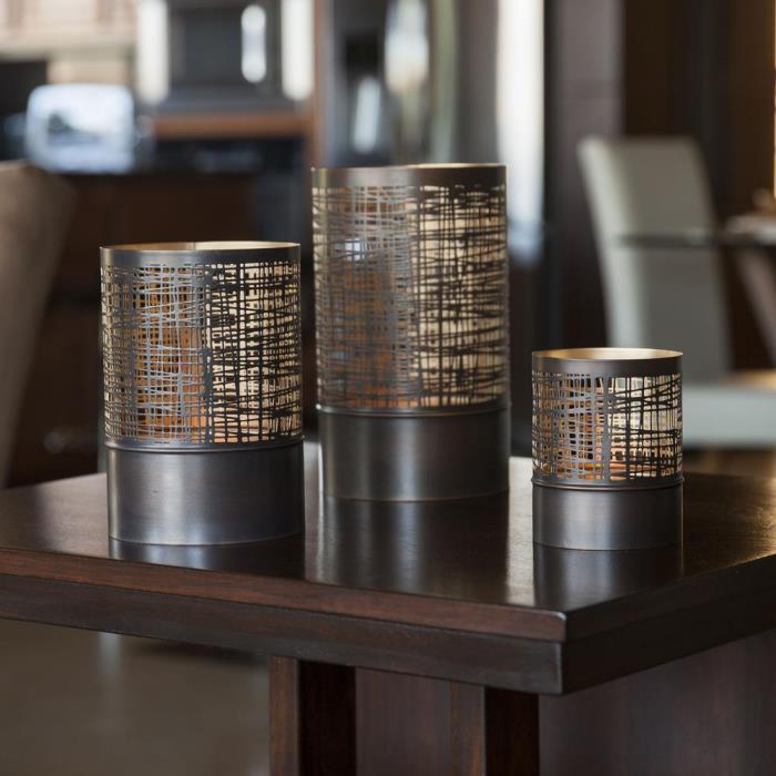 Filigree Brown Gold Metal Hurricane Candle Light Holders Home Decor (Set of 3)