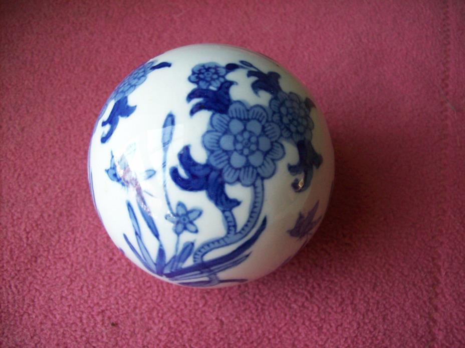 Collectible Blue & White Floral Ball Decorative Ceramic Ball 3-1/4
